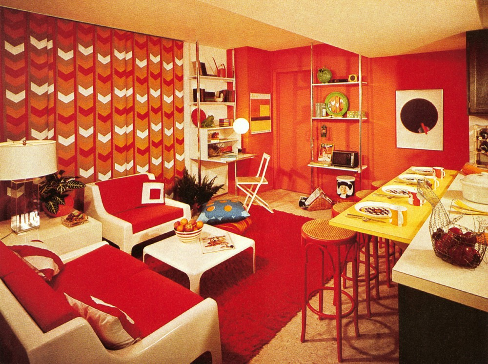 Above 1970s decor features as many shag rugs as possible