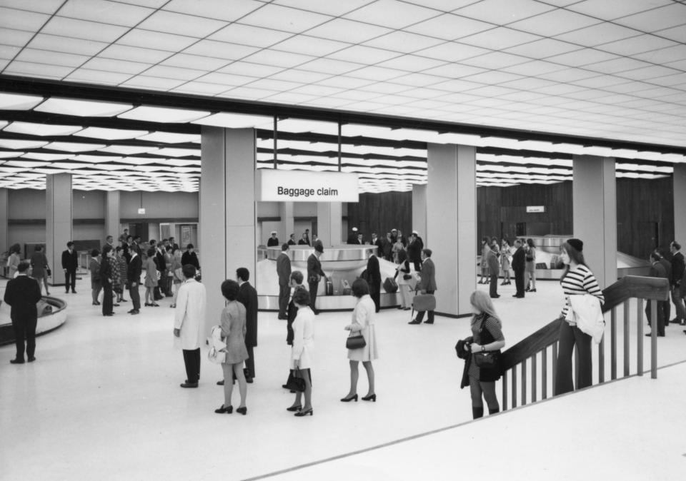 Melbourne Airport Arrivals hall in the 1970s