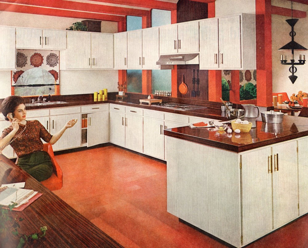 Interior retro kitchen renovation country kitchens for 70s style kitchen cabinets