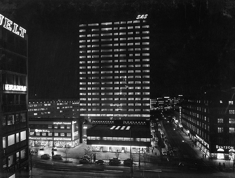 The exterior of the Radisson SAS Royal Hotel, Copenhagen built in 1960