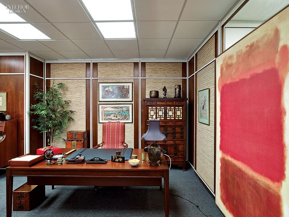 A licensed copy of a Mark Rothko painting hangs in Bert Cooper's office