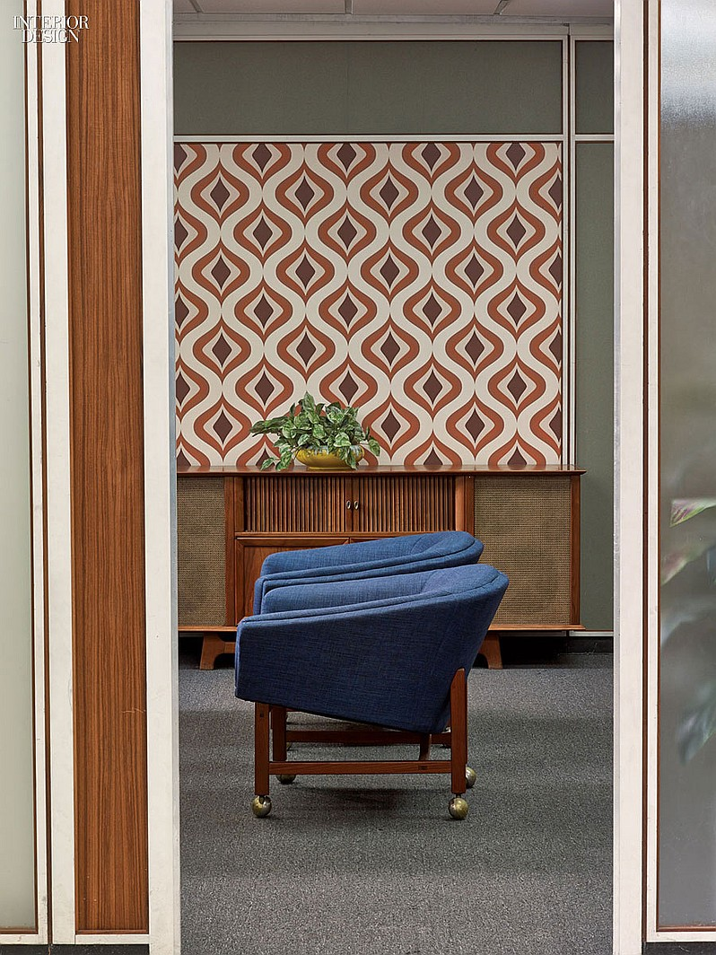 Chaough's office's '60's-esque wallpaper