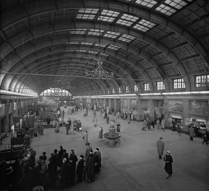 Scenes from Stockholm Central Station in the 1950s